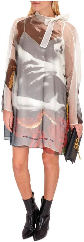 Valentino Lovers Print Organza Overlay Runaway Dress