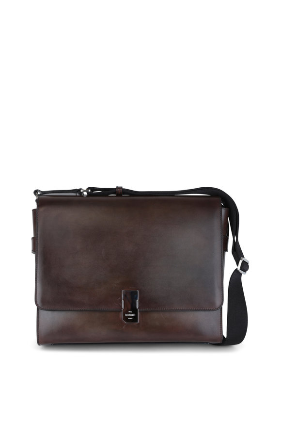 Berluti Ice Brown Leather Messenger Bag
