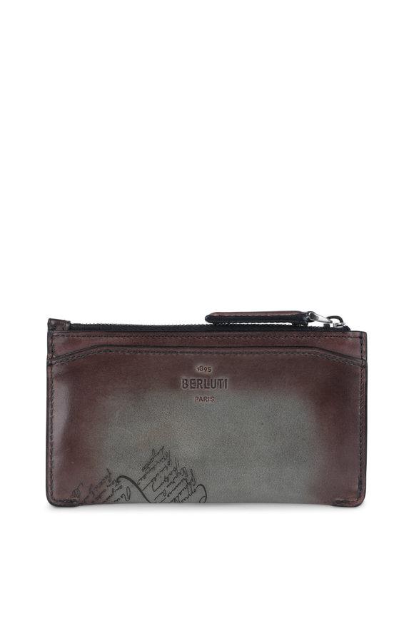 Berluti Facade Ice Brown Scritto Leather Card Case