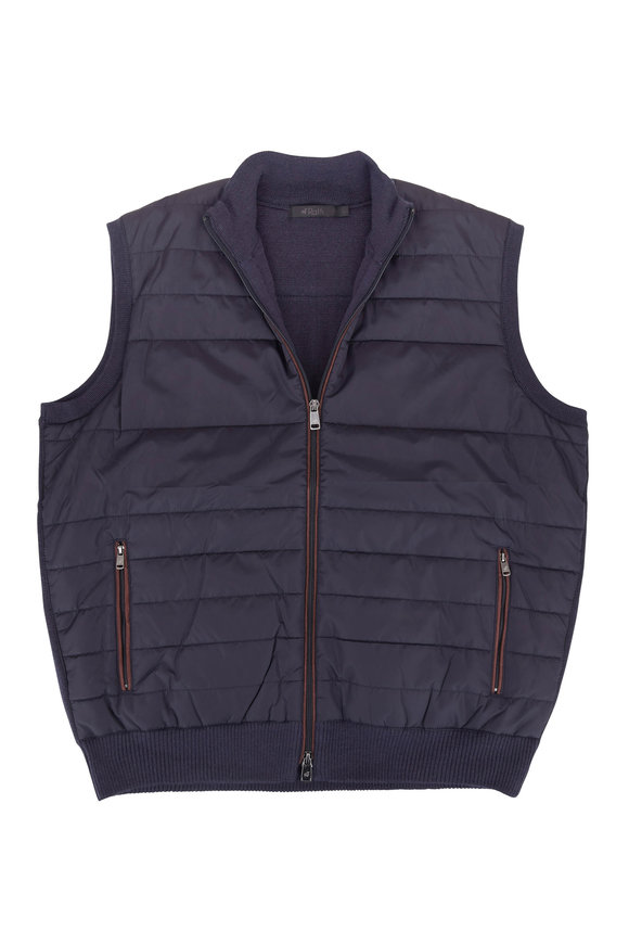 Raffi  Navy Quilted Nylon & Contrast Knit Back Vest