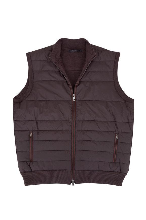 Raffi  Espresso Quilted Nylon & Contrast Knit Back Vest