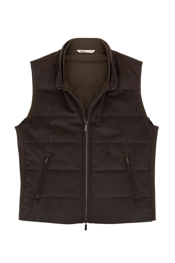 Maurizio Baldassari Olive Cashmere Front Zip Quilted Vest