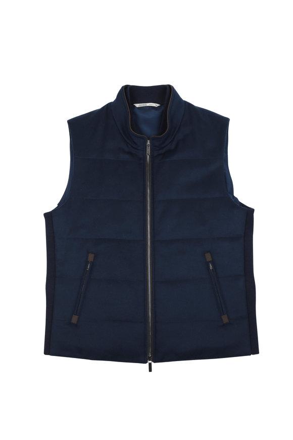 Maurizio Baldassari Navy Cashmere Front Zip Quilted Vest