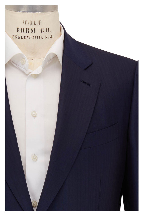 Ermenegildo Zegna Couture Navy Herringbone Wool Suit