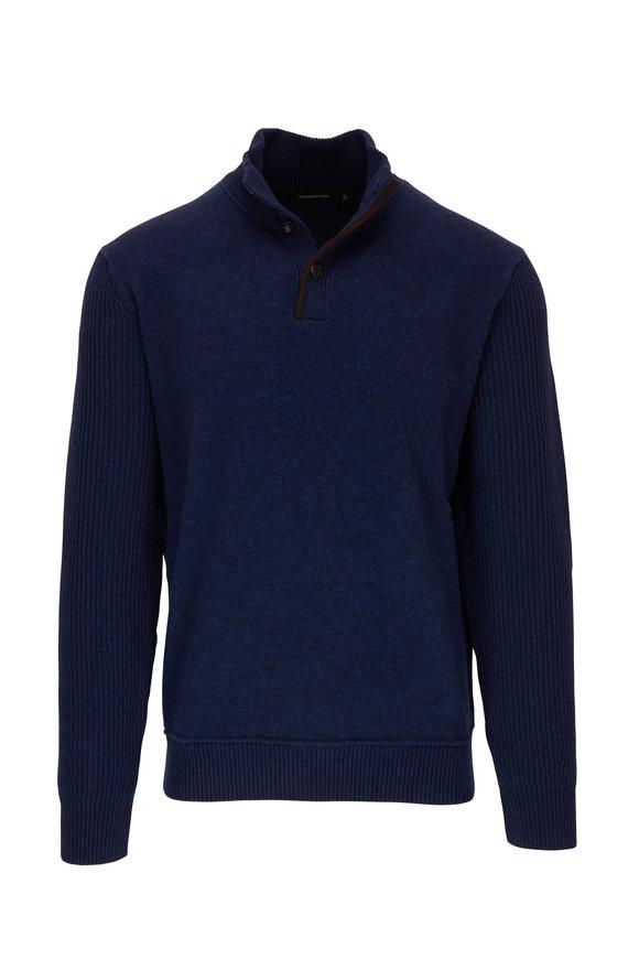 Ermenegildo Zegna Blue Wool & Cashmere Quarter-Button Pullover