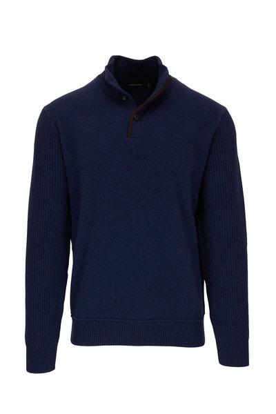 Ermenegildo Zegna - Blue Wool & Cashmere Quarter-Button Pullover