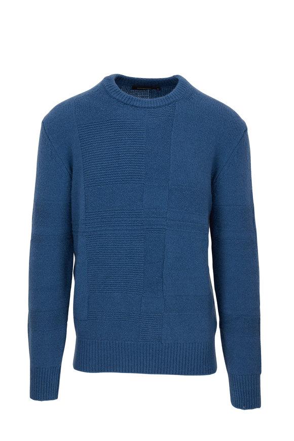 Ermenegildo Zegna Blue Textured Crewneck Pullover
