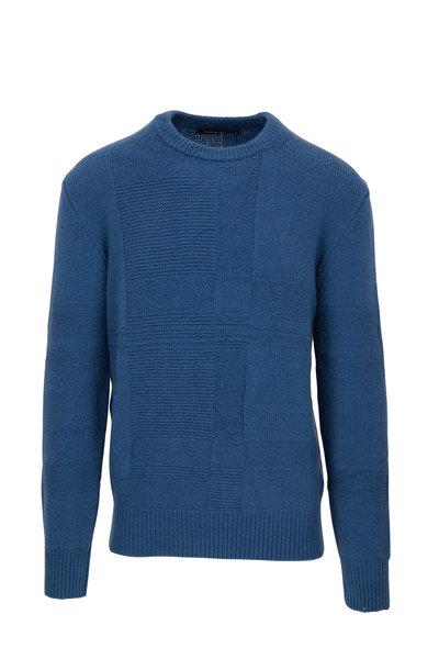 Ermenegildo Zegna - Blue Textured Crewneck Pullover
