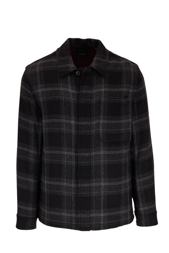 Vince Black & Deep Orchid Plaid Shirt Jacket