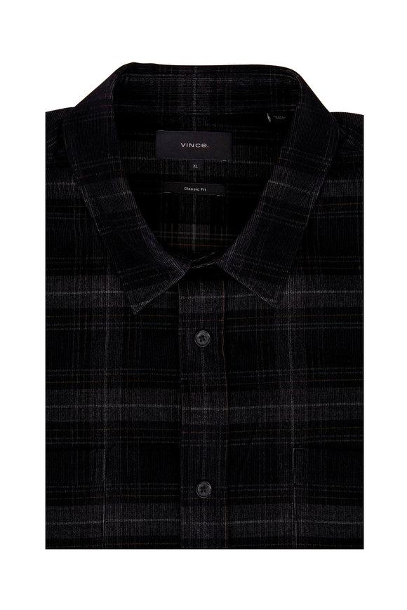 Vince Black Corduroy Plaid Button Down Shirt