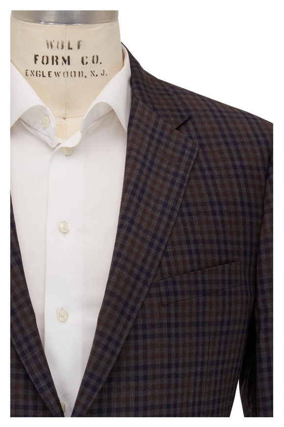 Samuelsohn Brown & Dark Navy Check Wool Sportcoat