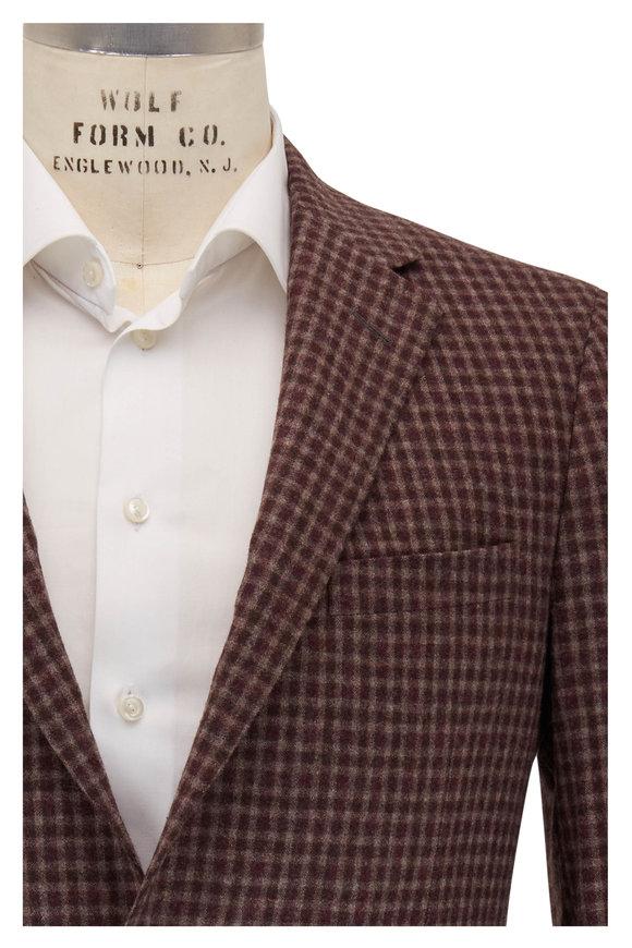 Samuelsohn Burgundy, Brown & Tan Check Wool Sportcoat