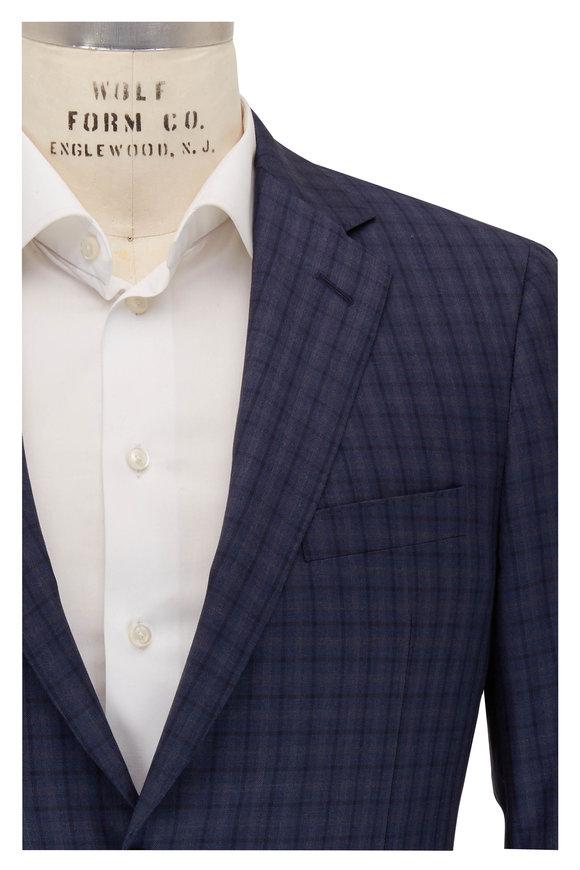 Samuelsohn Blue & Navy Plaid Wool Sportcoat