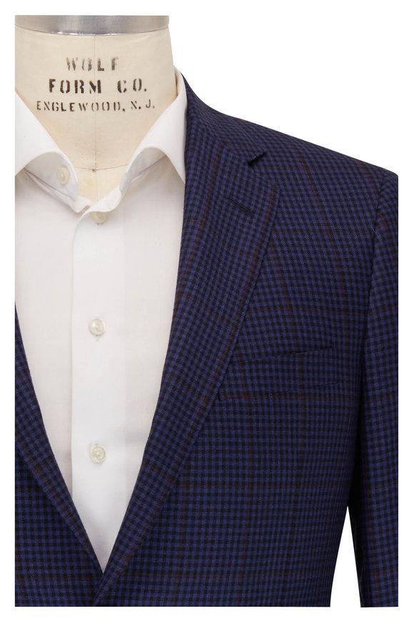 Samuelsohn Blue & Black Micro Check Wool Sportcoat