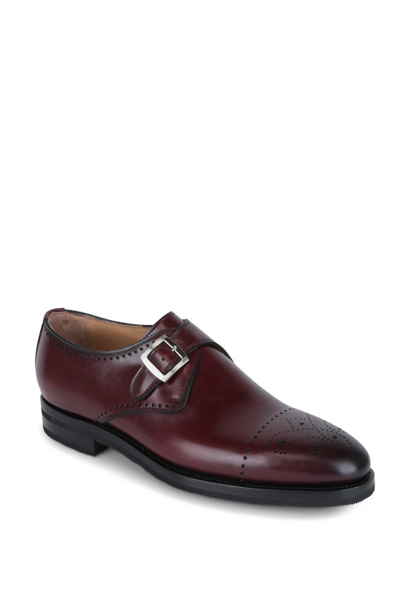 Kiton Burgundy Burnished Leather Cap-Toe Monk Shoe