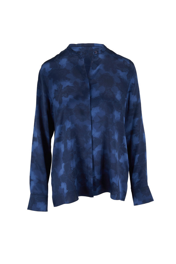 Vince Hydra Winter Tie Dye Silk Blouse