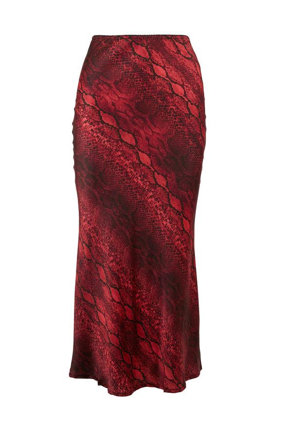 Andamane Bella Red Snake Print Midi Skirt