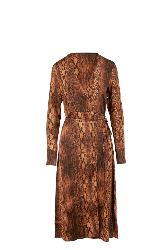Andamane Beverly Brown Snake Print Long Sleeve Wrap Dress