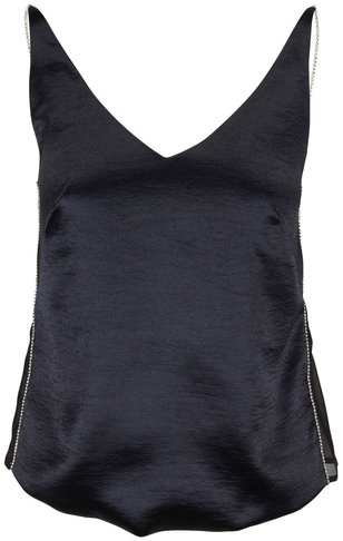 J Brand Lucy Black With Crystal Straps Cami
