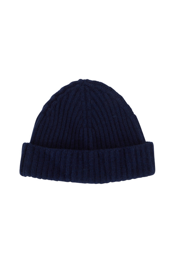 Raffi  Navy Cashmere Ribbed Hat