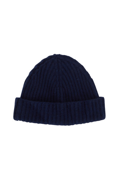 Raffi - Navy Cashmere Ribbed Hat