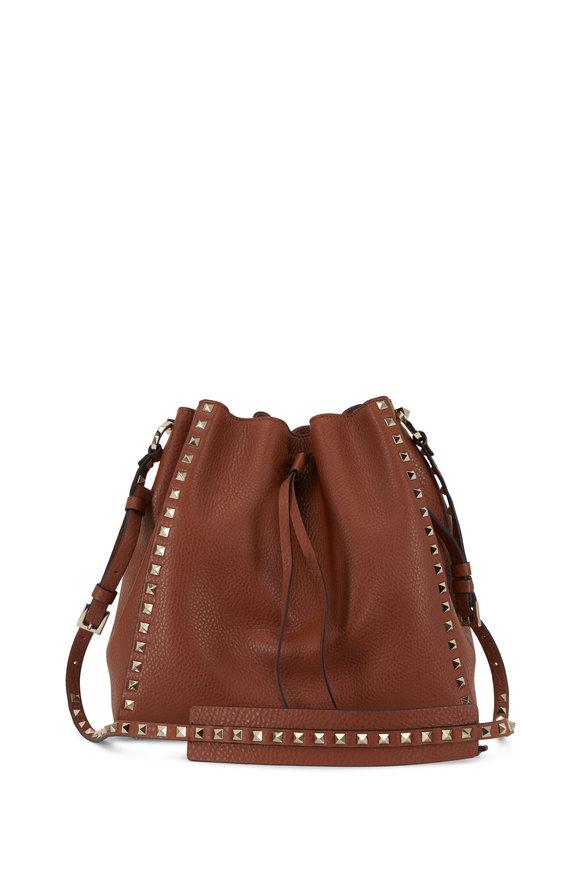 Valentino Garavani Rockstud Cognac Selleria Large Bucket Bag