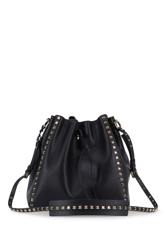 Valentino Garavani Rockstud Black Pebbled Leather Large Bucket Bag