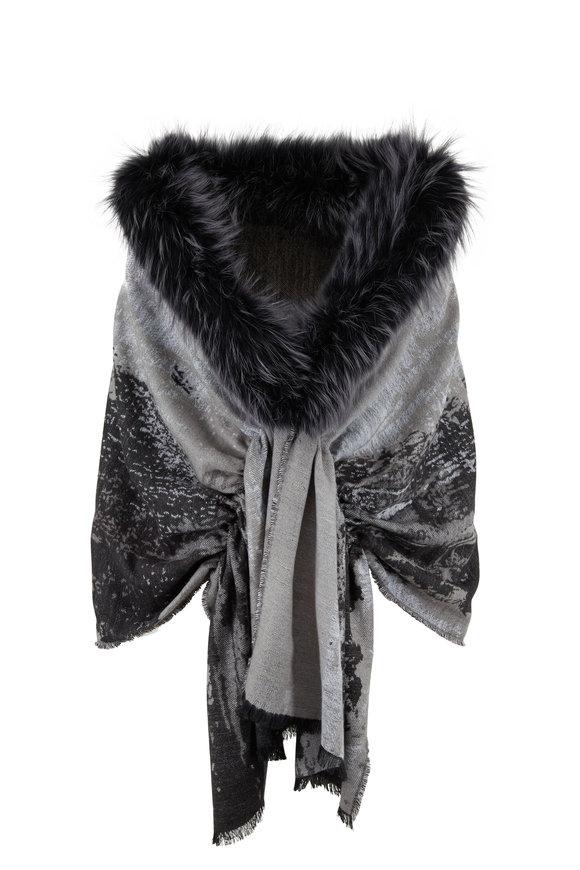 Viktoria Stass Black & Gray Fur Trim Shoulder Wrap