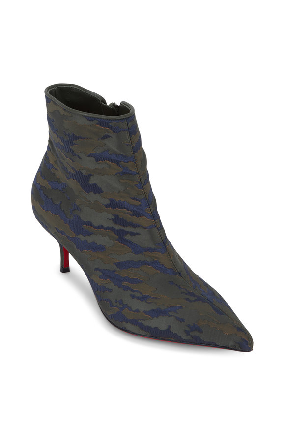 Christian Louboutin So Kate Green Camo Jacquard Ankle Boot, 55mm