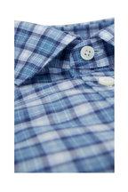 Ermenegildo Zegna - Blue Plaid Tailored Fit Sport Shirt