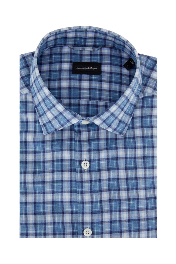 Ermenegildo Zegna Blue Plaid Tailored Fit Sport Shirt