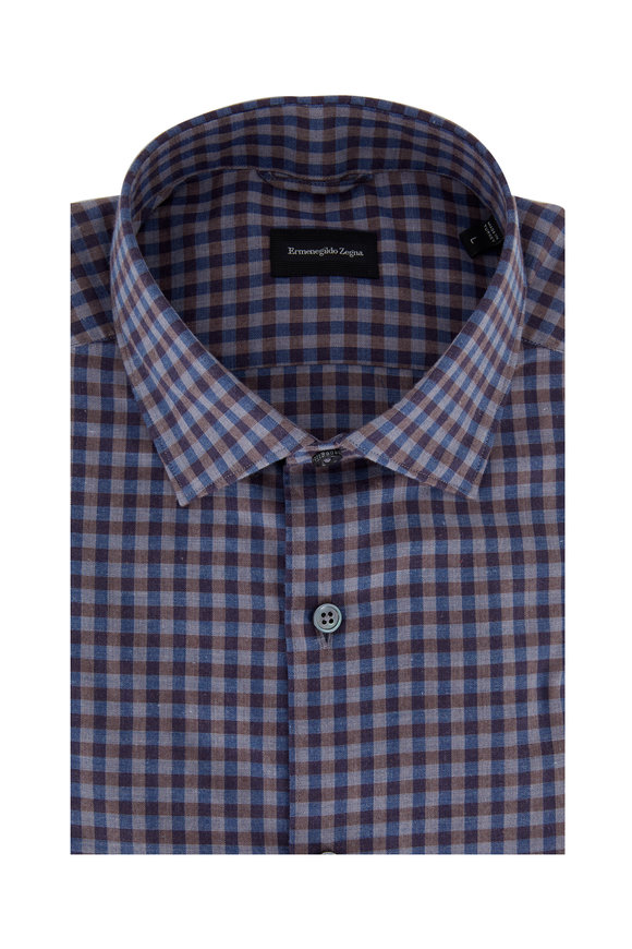 Ermenegildo Zegna Blue & Brown Gingham Tailored Fit Sport Shirt