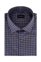 Ermenegildo Zegna - Blue & Brown Gingham Tailored Fit Sport Shirt
