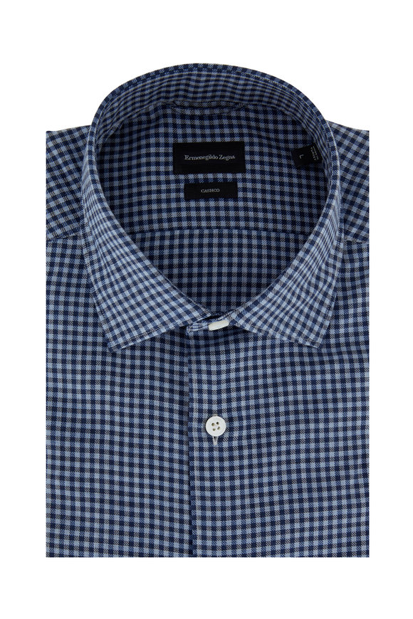Ermenegildo Zegna Navy Blue Gingham Tailored Fit Sport Shirt