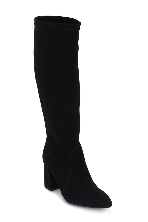 Aquatalia Phillina Black Stretch Suede Tall Boot, 75mm