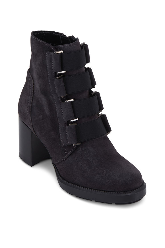 Aquatalia Ilanna Gray Suede Weatherproof Ankle Boot, 70mm