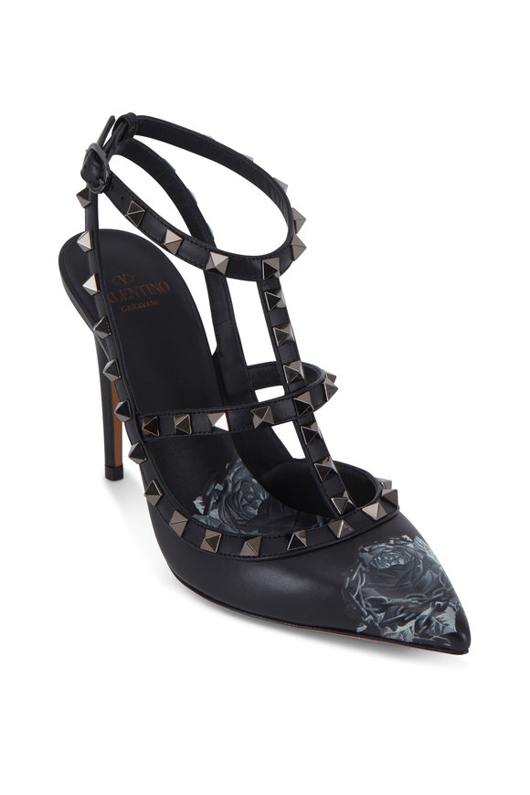 Rockstud Black Rose Print T-Strap Pump, 100mm