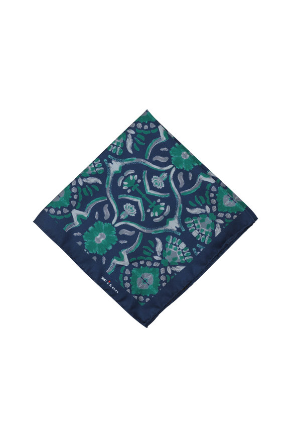 Kiton Blue & Green Geometric Silk Pocket Square