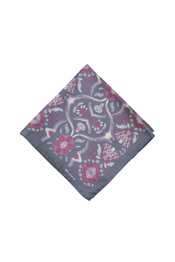 Kiton Gray & Pink Geometric Silk Pocket Square
