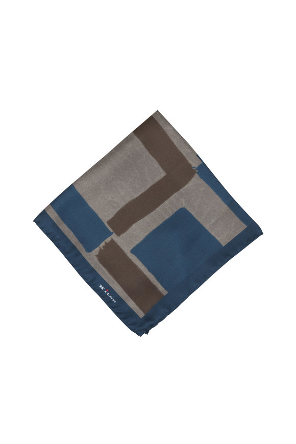 Kiton Slate Geometric Silk Pocket Square