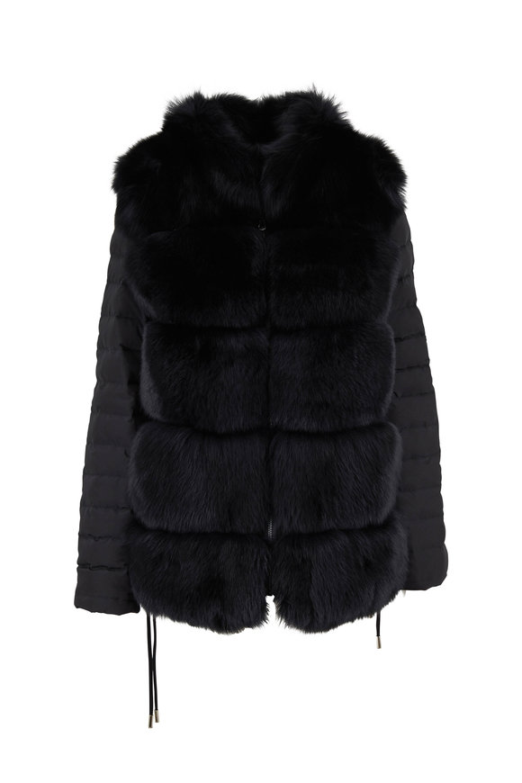 Viktoria Stass Black Microfiber & Fur Reversible Jacket