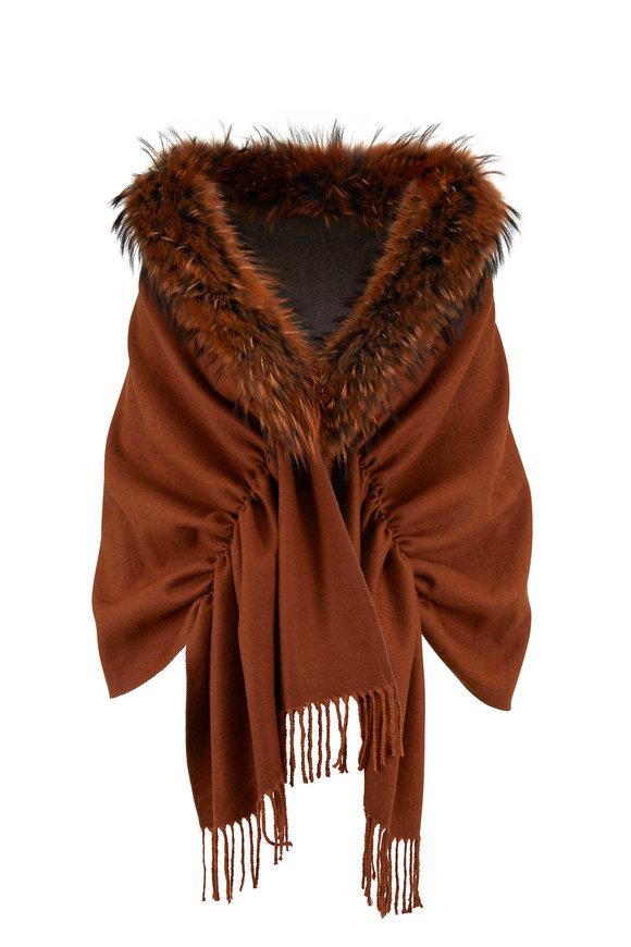 Viktoria Stass Ginger & Gray Fur Trim Shoulder Wrap