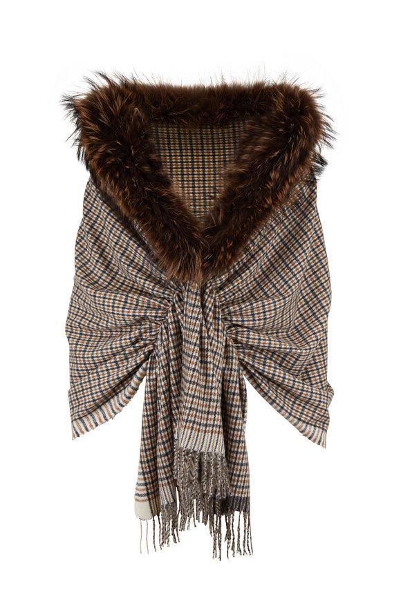 Viktoria Stass Merino Beige Plaid Fur Trim Shoulder Wrap