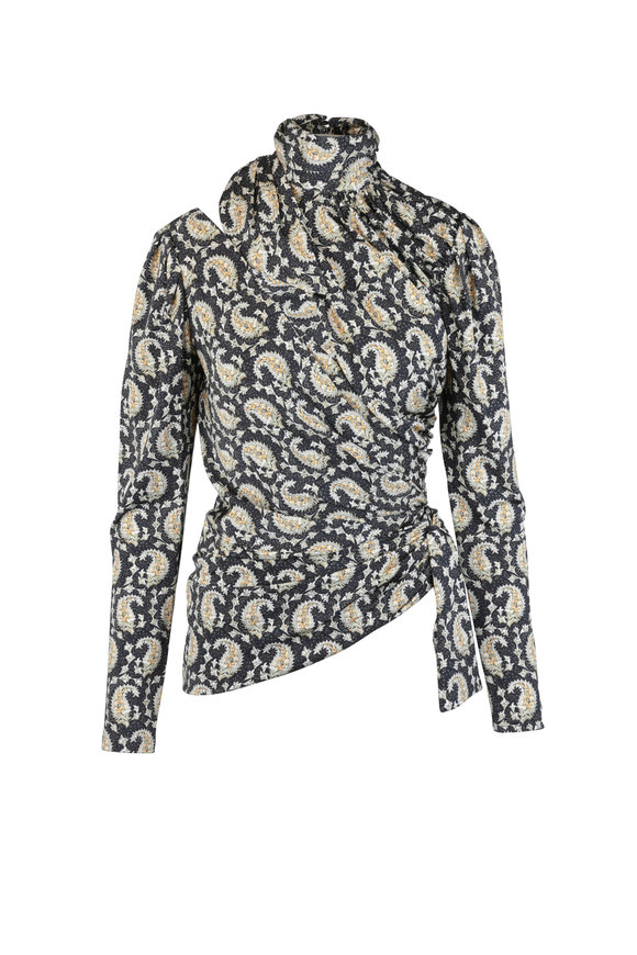 Altuzarra Deepa Black Paisley Cut-Out Blouse