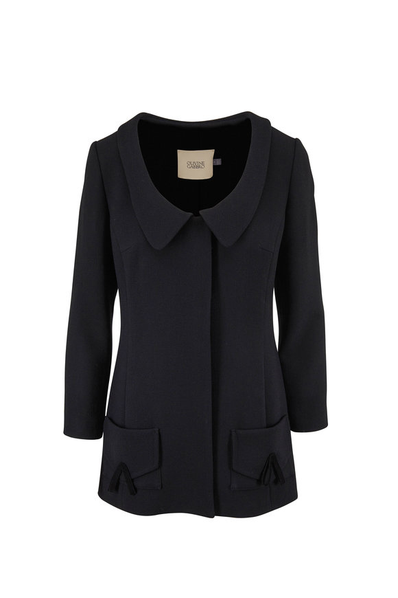 Olivine Gabbro Black Wool Crepe Scoop Neck Jacket