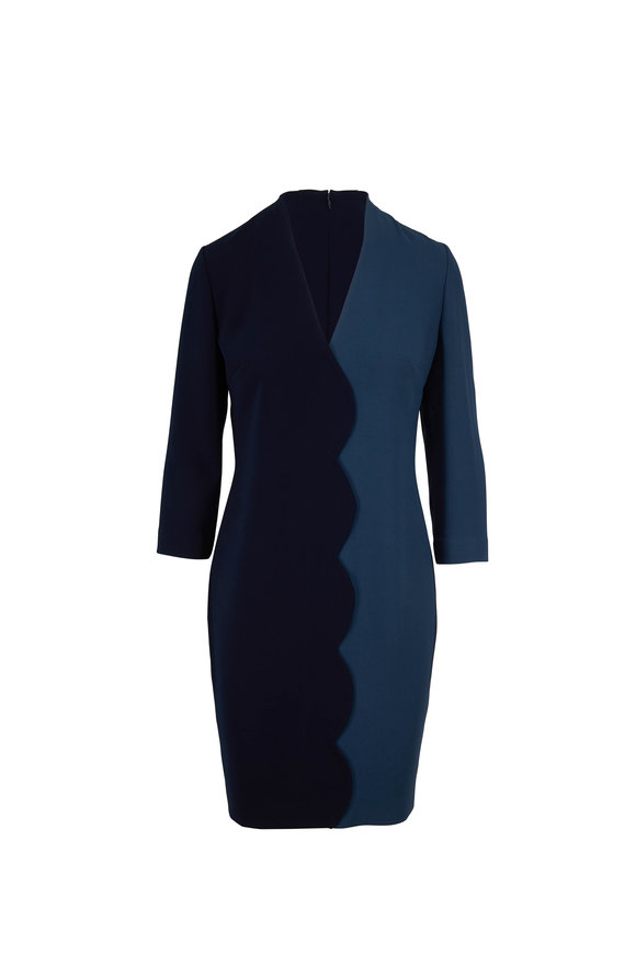 Olivine Gabbro Midnight & Blue Scallop Three-Quarter Sleeve Dress