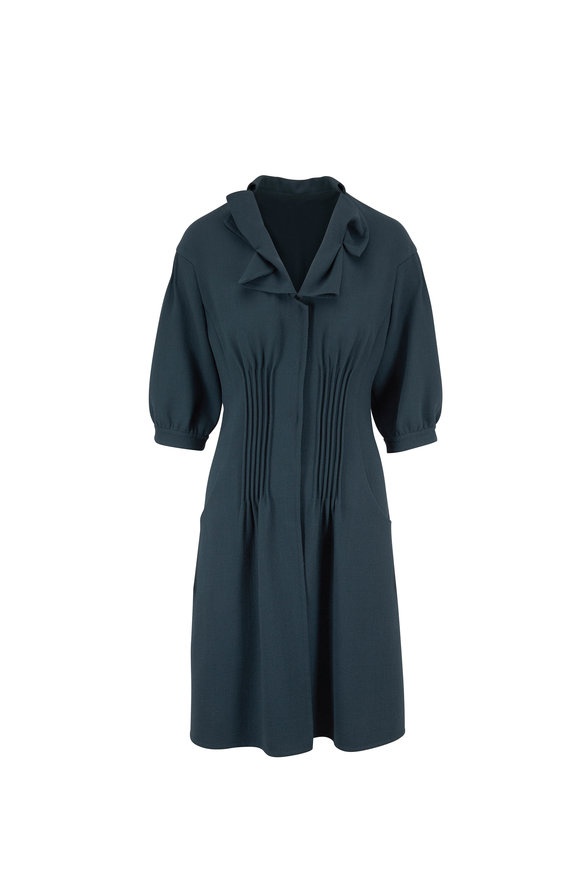 Olivine Gabbro Lake Wool Crepe Elbow Sleeve Coat Dress