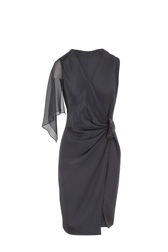 Olivine Gabbro Charcoal Wool Silk Sleeveless Gathered Waist Dress