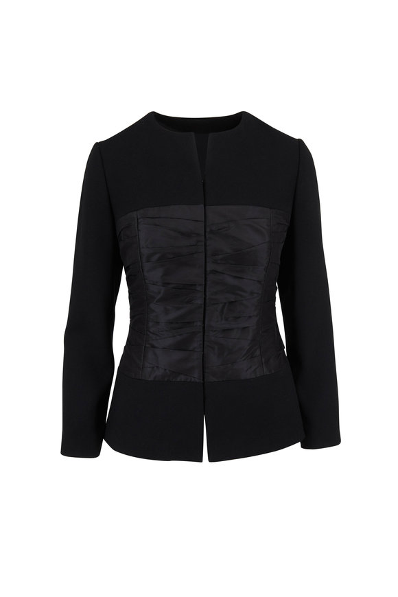 Olivine Gabbro Black Wool & Silk Corset Jacket