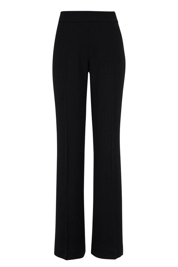 Olivine Gabbro Black Wool Crepe Straight Leg Pant